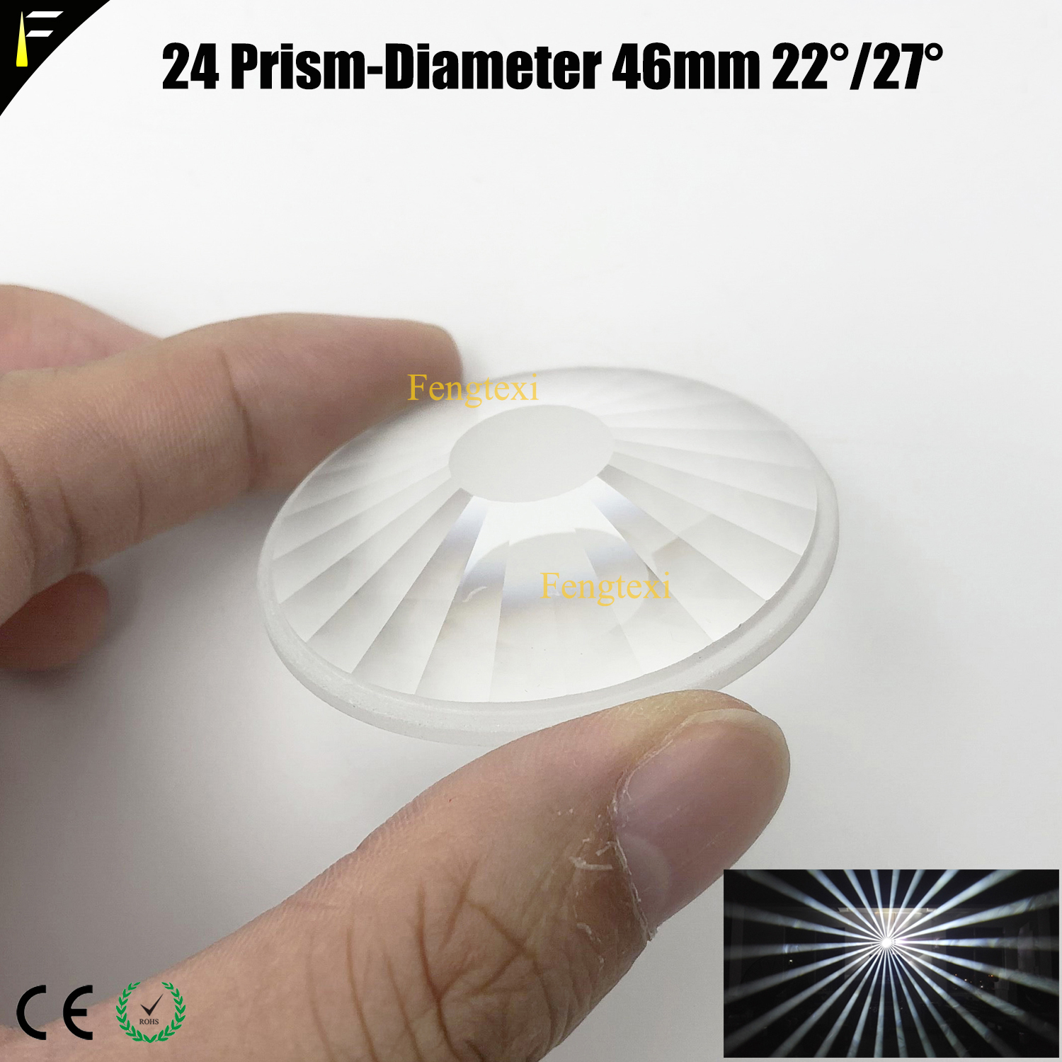 Diameter 46mm 200W230W Beam Light 16/24 Prism With 22 27 Degree Prism Beam Light General Big Angle Prism Spare Parts