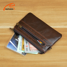 NUPUGOO Vintage Small Coin Purse Mini Wallet Men Genuine Leather Pouch Brown Casual Little Bag Zipper Pocket Key Money Card Bags
