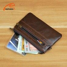 NUPUGOO-monedero pequeño Vintage para hombre, Mini billetera de cuero genuino, marrón, informal, pequeña bolsa con cremallera para llave de bolsillo, tarjetero