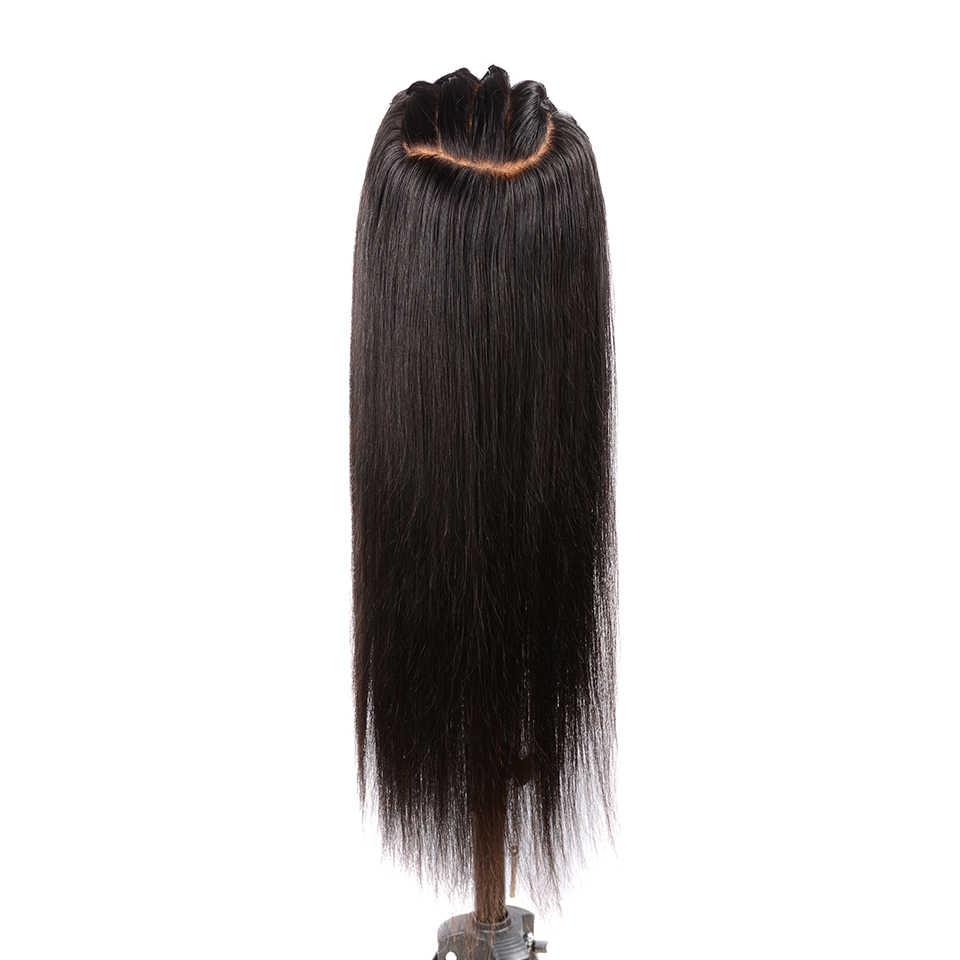 Pre arrancado 13X6 de encaje de cabello humano pelucas con minimechones falso cuero cabelludo peluca con malla frontal de cabello humano brasileño recto pelucas para mujeres Remy