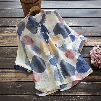Bawełniana letnia bluzka damska w nowym stylu koreańska luźna krótka koszulka z kołnierzykiem stójka koszula z nadrukiem damskie bluzki bluzka tanie i dobre opinie TINNA ANNA NONE CN (pochodzenie) REGULAR Linen POLIESTER COTTON Drukuj Na co dzień long V-neck SHORT KOSZULE CODZIENNE