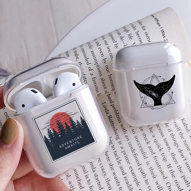Airpods 1/2 Case Cover Sunrise Pattern Clear Soft Silicone Case For Bluetooth Wireless Earphone Case Charging Box Case Bags Hill