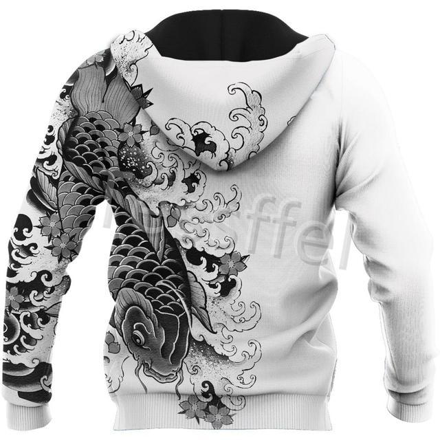 Tessffel Japan Samurai Tattoo 3D Printed New Men's Sweatshirt Harajuku Zipper Hoodie Casual Unisex Jacket Pullover Style-7 3