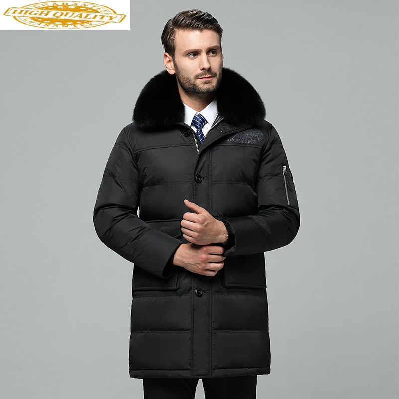 Men's Down Jacket Long Winter Coat Men Real Fox Fur Collar Plus Size Puffer Jacket Warm Doudoune Homme 8188-8 KJ3050