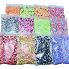 50g x 1bag Nail Round Flake Sparkly 12-Design Ultra-thin Chunky Dazzling Multi-Color Colorful Flakes DIY Nail Tip Art Decoration