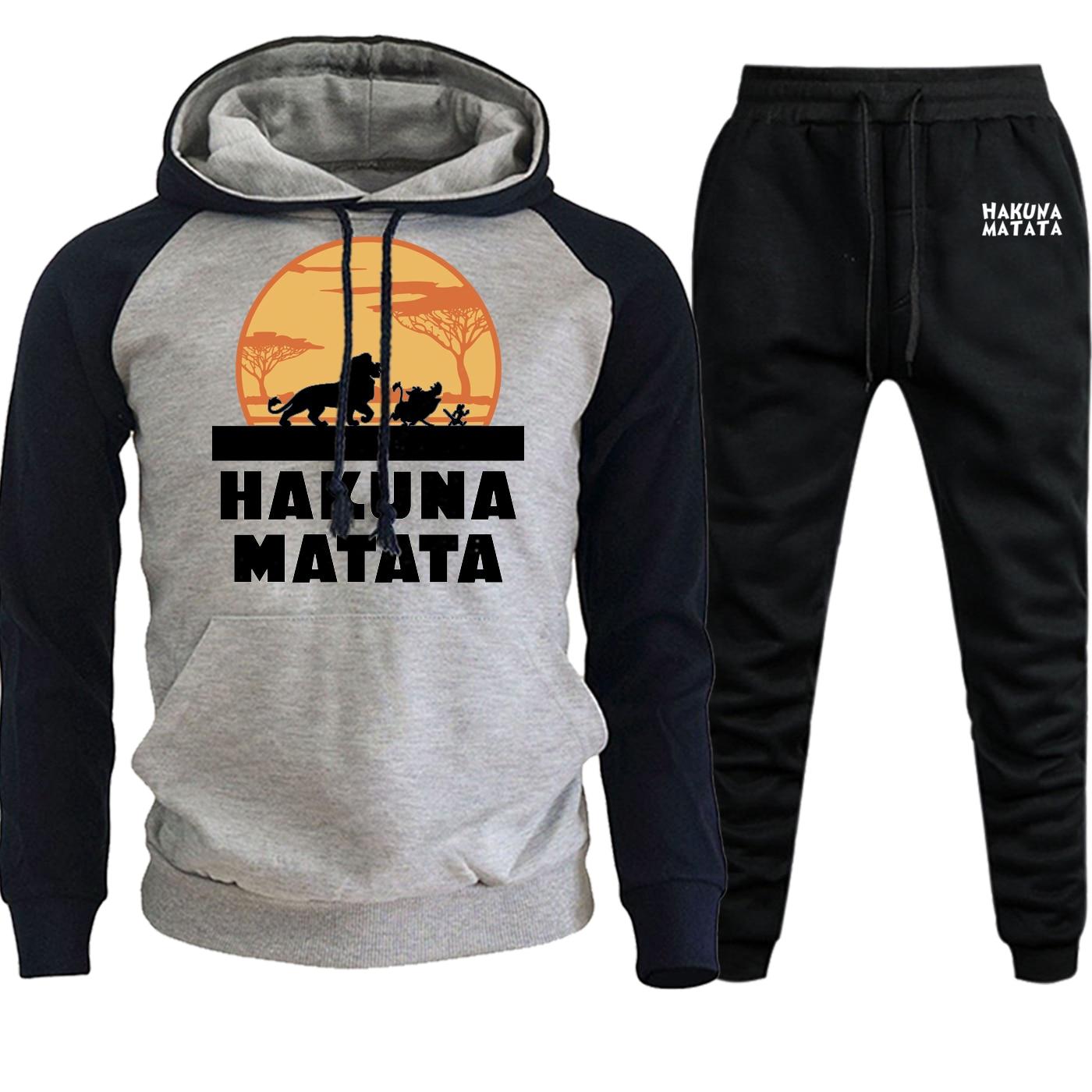 Cartoon Hoodies Men Raglan Streetwear 2019 New Autumn Winter The Lion King Hooded Suit Hip Hop Fleece Pullover+Pants 2 Piece Set