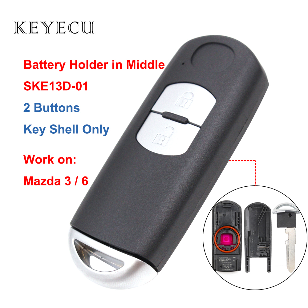 Keyecu Remote Key Shell Case Cover 2 Buttons & Emergency Key for Mazda 3 6 2014 2015 2016 2017 2018 SKE13D-01 FCC: WAZSKE13D01 image