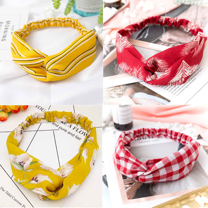 Women Headband Retro Haarband Cross Knot Elastic Hair Bands Soft Floral Print Girls Hairband Hair Accessories