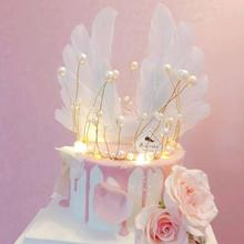 Cakelove Metal Pearl Princess Crown Cake Topper Shiny Artificial Pearls Headdress Wedding&Engagement Birthday Handmade