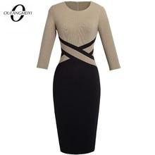 سيدة المرقعة التباين الخريف عادية الأعمال مكتب اللباس العمل أنيقة ثلاثة أرباع و قصيرة الأكمام Bodycon فستان EB463