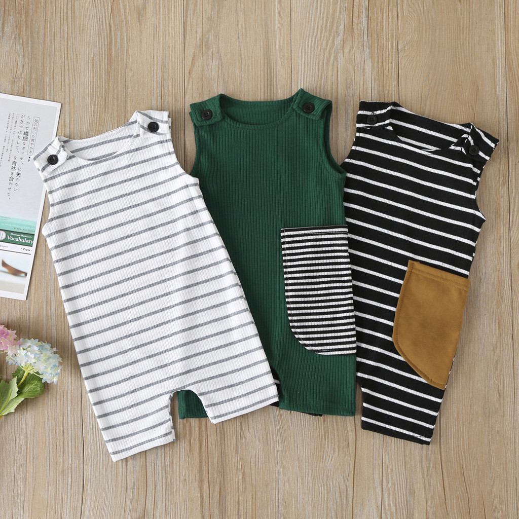 Newborn Baby Boy Girl Outfit Clothes Romper Tops Jumpsuit Shorts Pants One-Piece Sleeveness Rompers O Neck Striped Baby Jumpsuit