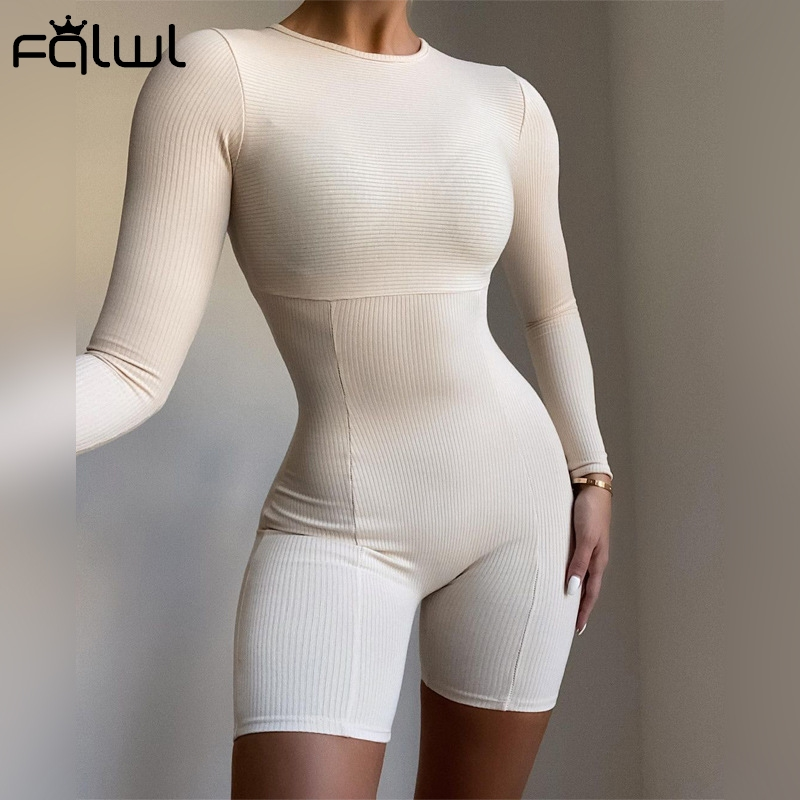 FQLWL Long Sleeve Rompers Womens Jumpsuit Female One Piece Outfit Ribbed Black White Short Bodycon Jumpsuit Women Playsuit 2021