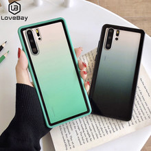 Lovebay Transparent Gradient Phone Cases For Huawei P30 Pro Lite Nova 5 Pro Honor 8X 9 10 Lite Acrylic Pure Back Cover Gift Case(China)