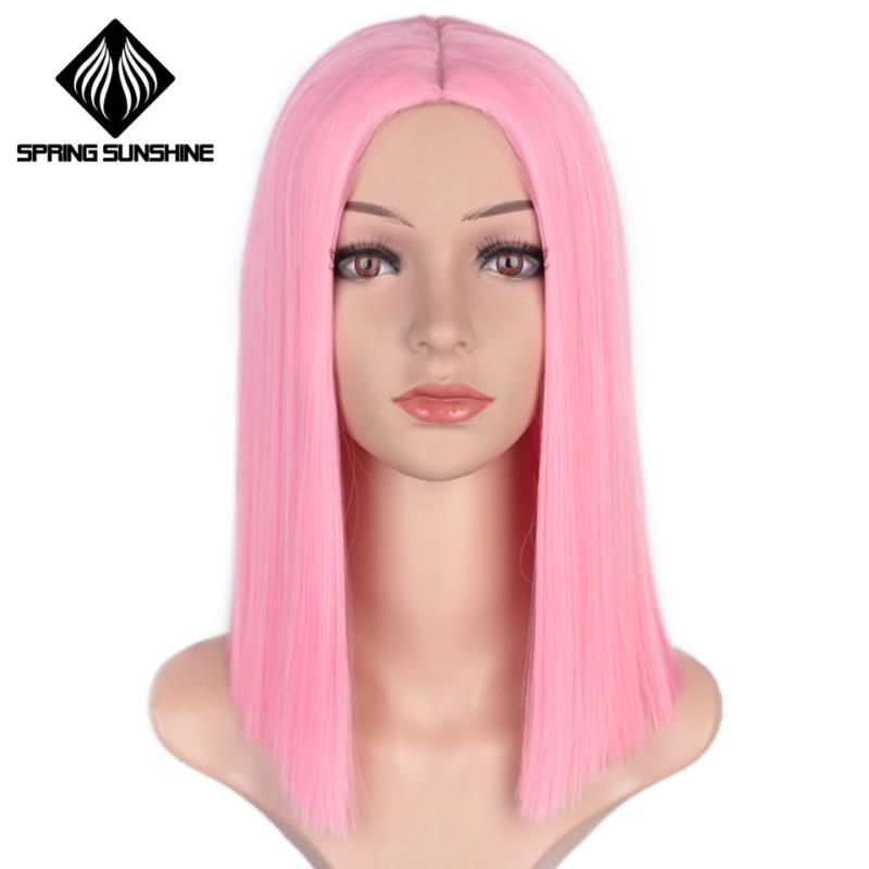 Spring sunshine <font><b>Short</b></font> Straight Bob Purple Yellow Orange <font><b>Pink</b></font> Synthetic <font><b>Wigs</b></font> For Women 12 Inch Middle Part Glueless Cosplay <font><b>Wigs</b></font> image