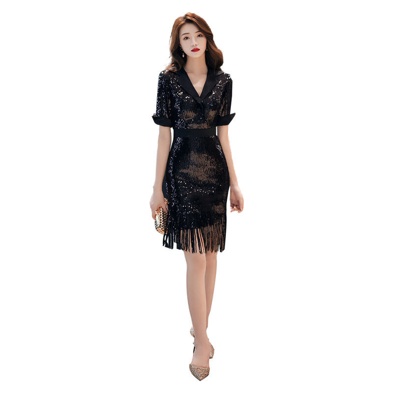 Evening     Dress   Sexy Deep V-neck Women Party   Dresses   Zipper Sequin Robe De Soiree 2019 Plus Size Half-sleeve Formal Gowns F002