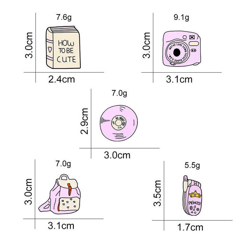קריקטורה חמוד ורוד CD נייד טלפון מצלמה ספר תרמיל סיכות פין מעילי חולצה דש פין אמייל מתכת תג ילדה תכשיטים מתנה