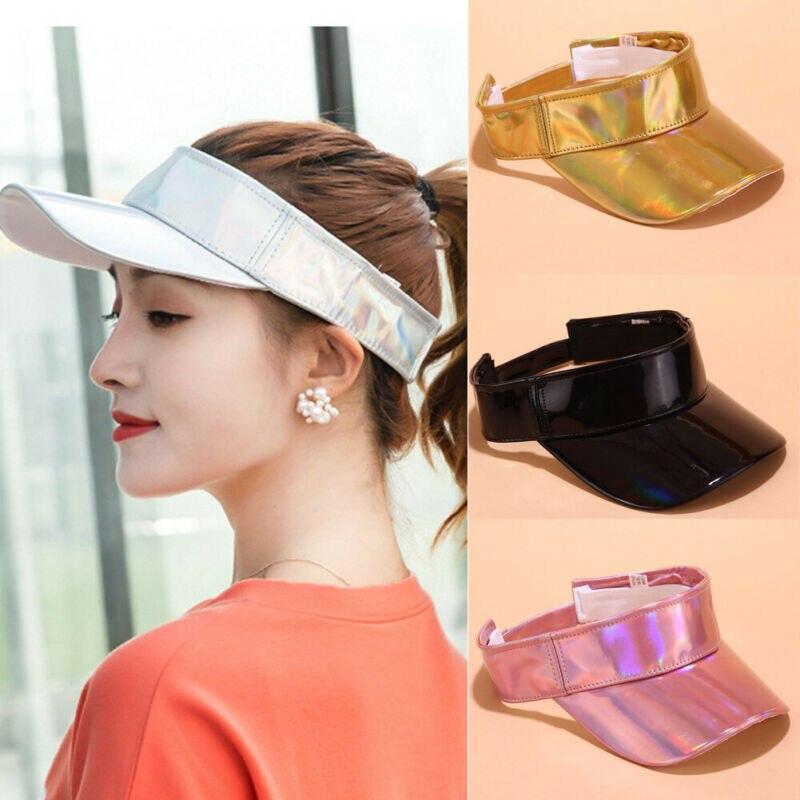 Summer Women Men Unisex Laser Cap Visors Hats Outdoor Travel Girls Solid Color Sports Beach Hat Adjustable Women Visor Cap New