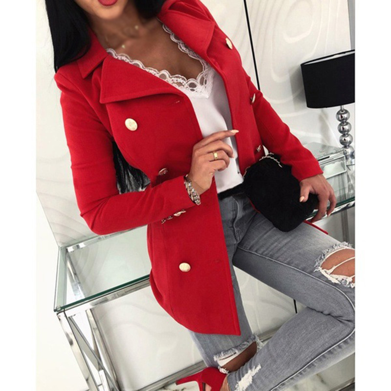 Women Blazers Casual Slim Business Coat Blazer Suit Vintage Double-breasted Outwear Plus Size Slim Ladies Coat