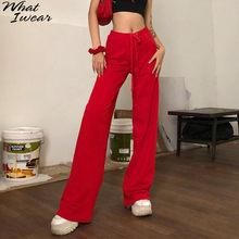 Pantalones de pierna ancha con cordón liso elástico para mujer, ropa informal de cintura alta, prendas de vestir, pantalones básicos, novedad de verano