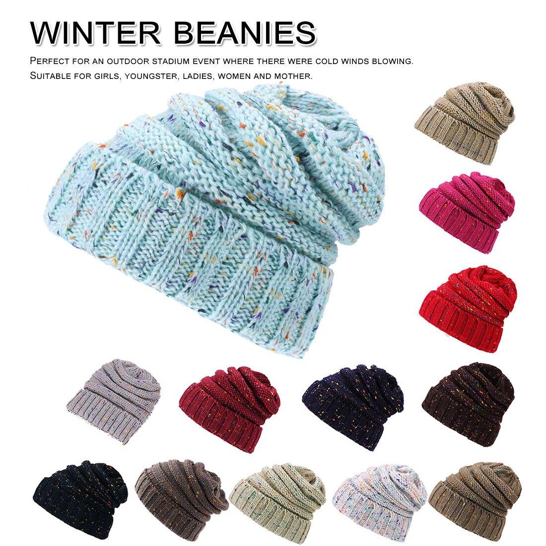 Women Ladies Winter Solid Knitting Hat Warm Cap Pile Ski HOT Sales women hat winter warm Knitted WomenS Beanies