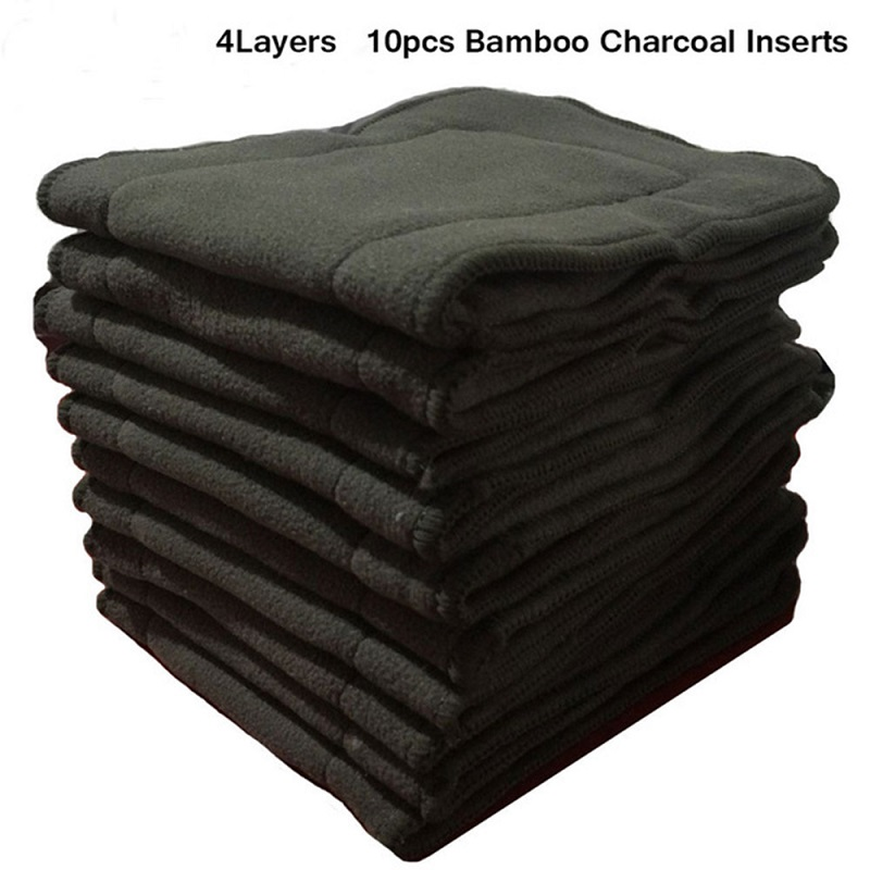 Ohbabyka 10pcs Cloth Diaper Inserts 4 Layers Bamboo Charcoal Pocket Diaper Inserts Liners For Baby Cloth Nappy Couches Lavables