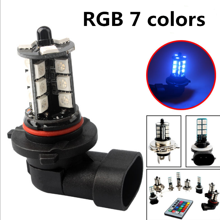 2pcs RGB  H11 H8 LED Car Lights LED Bulbs 9005 HB3 9006 HB4 White Daytime Running Lights DRL Fog Light 6000K 12V Driving Lamp