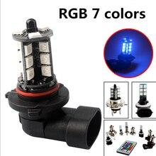 2 шт. RGB H11 H8 светодиодный автомобильный светильник s светодиодный лампы 9005 HB3 9006 HB4 белые дневные ходовые огни светильник s DRL противотуманный ...