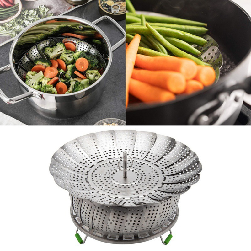 Double Layer Stainless Steel Vegetables Steamer Basket Steamer Inserts For Pot Pans Crock And Pot Steamer