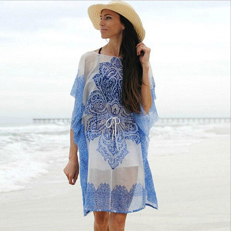 Europe And America New Style Chiffon Heat Transfer Floral Patterns Pull-belt Beach Skirt Seaside Holiday Coat Bikini Outer Blous
