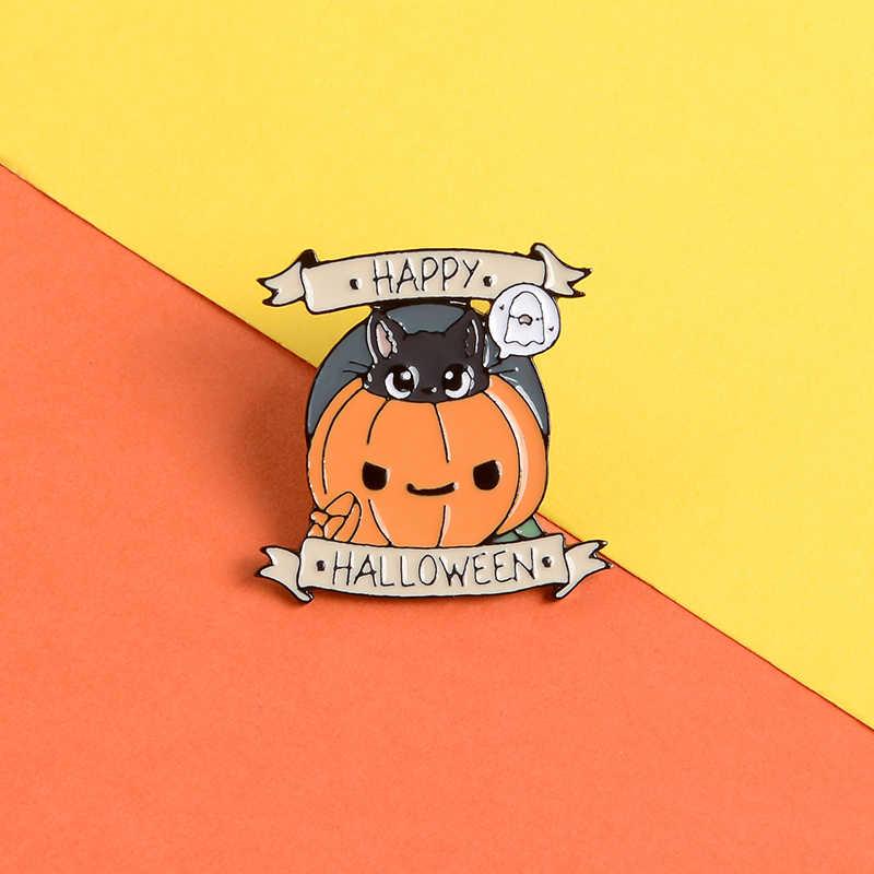 Halloween Cute Pumpkin Pin Cartoon Cat Ghost Enamel Pin Brooch Happy Halloween Lapel Pin Jackets Bag Badge Jewelry Gift For Kids Brooches Aliexpress