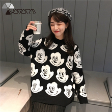 New Sweater Kawaii Women O-Neck Sweaters Winter Clothes Long Korean Style Tops Woman Oversized Pullover Fall 2019