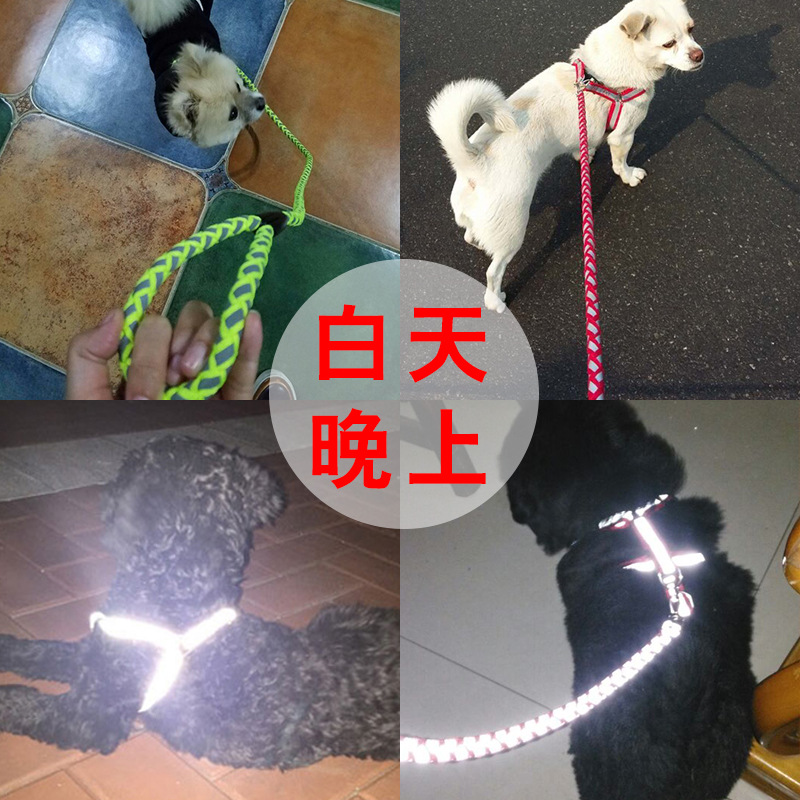 Traction Dog Puppy Lanyard Small Dogs Cat Medium Dog Reflective Lanyard Sub-Teddy Dog Chain Neck Ring Pet Supplies