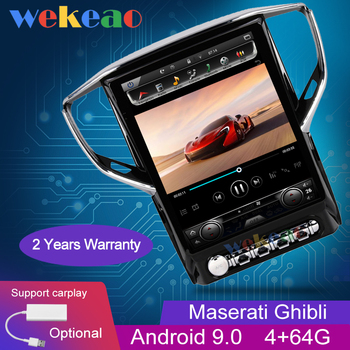 Wekeao Vertical Screen Tesla Style 12.1'' 1Din Android 9.0 Car Radio GPS Navigation For Maserati Ghibli Car DVD Player 2004-2016 image