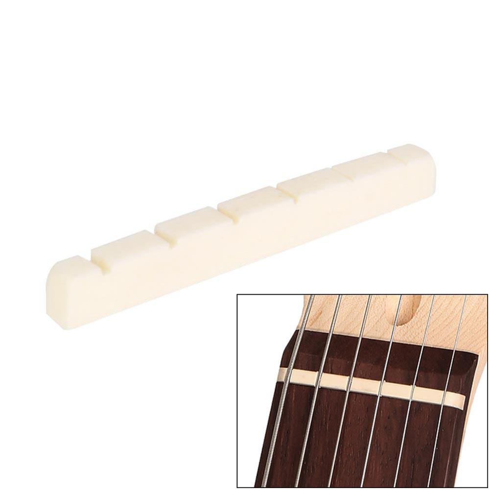 Dopro Curved 43mm Unbleached Pure Bone Nut Guitar Slotted Bone Nut for Strat//Tele 43x3.2mm