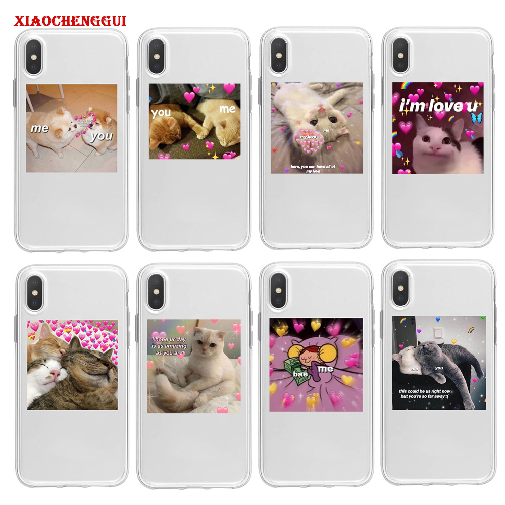 cute cat dog cartoon pink Heart-shaped YOU&ME series HD transparent Soft case for samsung galaxy A10 A20 30 A40 50 A60 A70 80 image