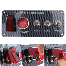 Racing Car 12V LED Ignition Switch Panel Engine Start Push Button LED Toggle Carbon Fiber все цены