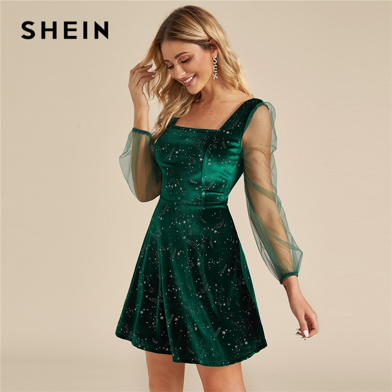 SHEIN Galaxy Print Contrast Sheer Mesh Sleeve Christmas Velvet Dress Women Spring Square Neck A Line Party Short Flared Dresses