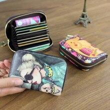 Frauen Karte Halter Brieftasche PU Leder Weiblichen Karte Fall 9 Bits + 2 Große Position Zipper Kreditkarte Brieftasche Nette zeichen Karte Tasche