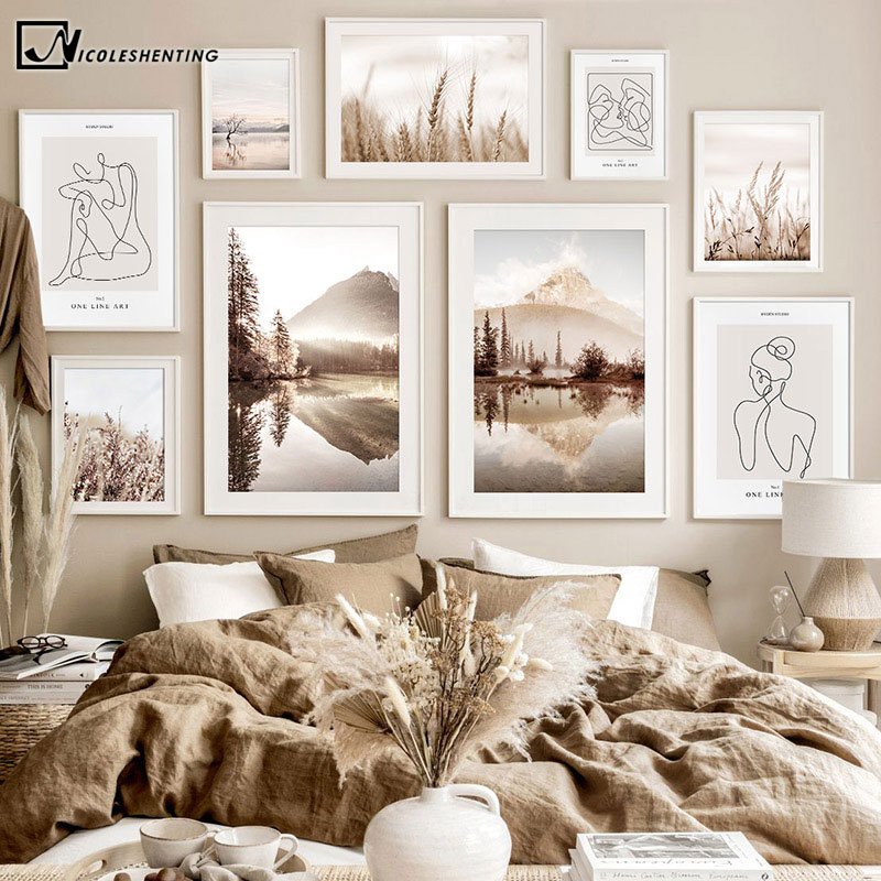 Bohemia Sunrise Nature Landscape Painting Lake Reflection Canvas Poster Nordic Style Art Print Gallery Wall Decoration Picture