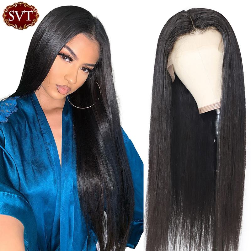 Straight 360 Lace Frontal Wig With Baby Hair SVT Malaysian Remy Human Hair Long Glueless 13x4 Lace Front Wig For Women 8-26 Inch