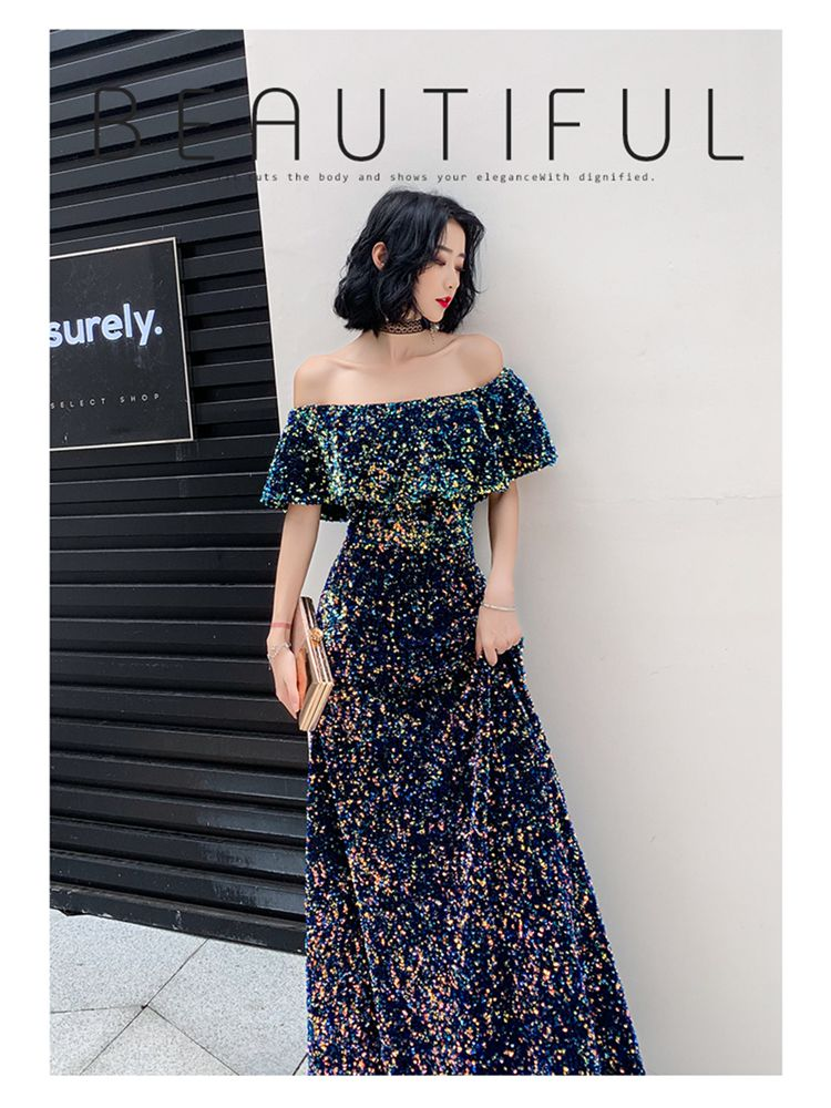 2020 New Sequins Evening Dress Long Vintage Prom Dress Shiny Off The Shoulder Evening Gown A-Line Banquet Formal Evening Dress