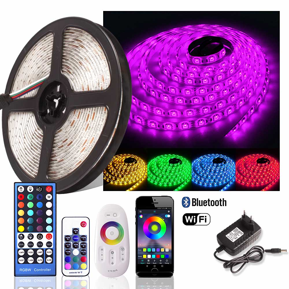 5050 RGB LED Strip 12V Waterproof Dimmable Flexible Neon Lights Fita Led RGB Tape Tira LED WiFi 24keys/Bluetooth/2.4G Remote Set