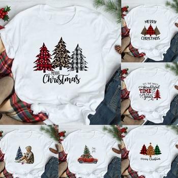 Merry Christmas Plaid Tree Printed T-Shirt Fashion Graphic Women Top Tshirt Female Kawaii Tee Ladies Xmas T-shirt Harajuku - discount item  30% OFF Tops & Tees