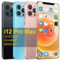 Лидер продаж MTK6889 i 12 Pro Max Смартфон Android 10,0 6,7 дюймов двойная SIM Card 12 Гб Оперативная память 512 ГБ Встроенная память 5800 мА/ч, мобильный телефон