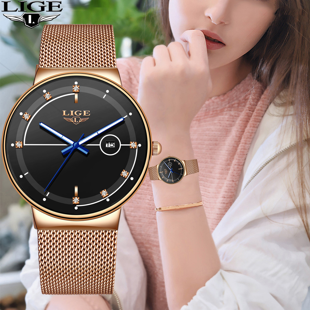 2020 New LIGE Fashion Ladies Watches Top Brand Luxury Simple Slim Watch Women Waterproof Mesh Belt Gold Watch Relogio Feminino