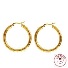 MADALENA SARARA-pendientes de oro puro de 18k para mujer, aretes colgantes de estilo Simple, círculo redondo