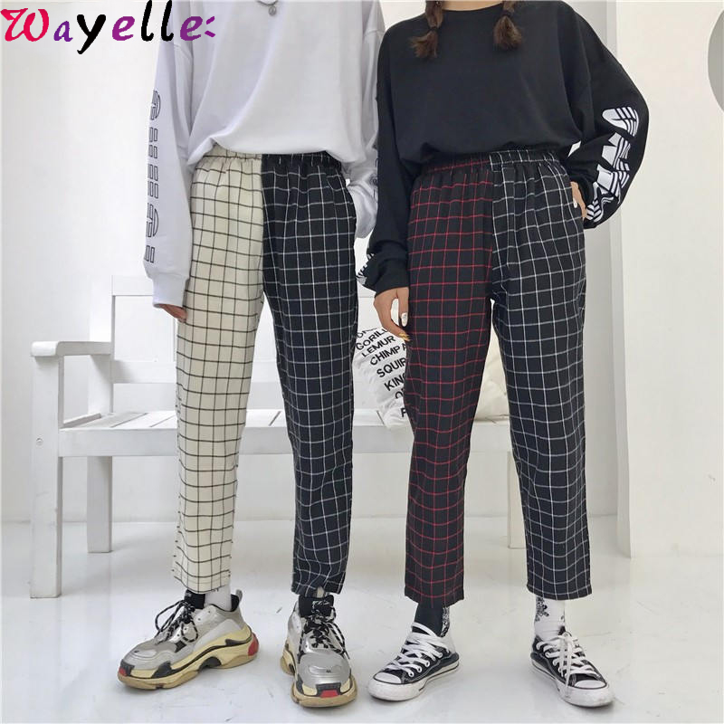 Vintage Patchwork Pliad Pants Women Harajuku Korean Style Women Trousers Elastics High Waist Pants Straight Pants Female