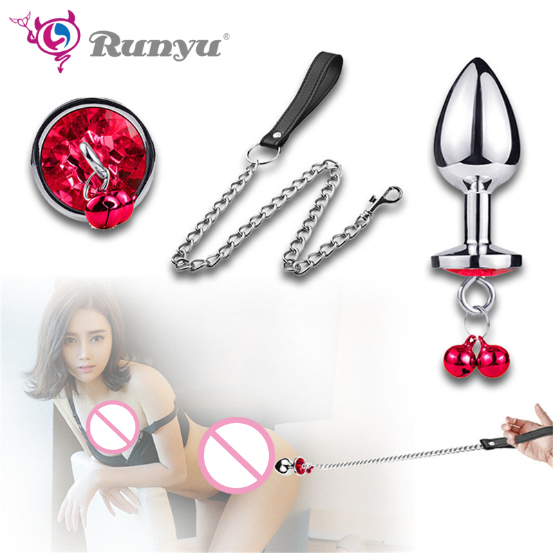 Stainless Steel Butt Plug <font><b>Anal</b></font> Beads Crystal Jewelry Stimulator Toys <font><b>Dildo</b></font> <font><b>Anal</b></font> Plug <font><b>Gay</b></font> Sex Products <font><b>Anal</b></font> Sex with Collar Chain image