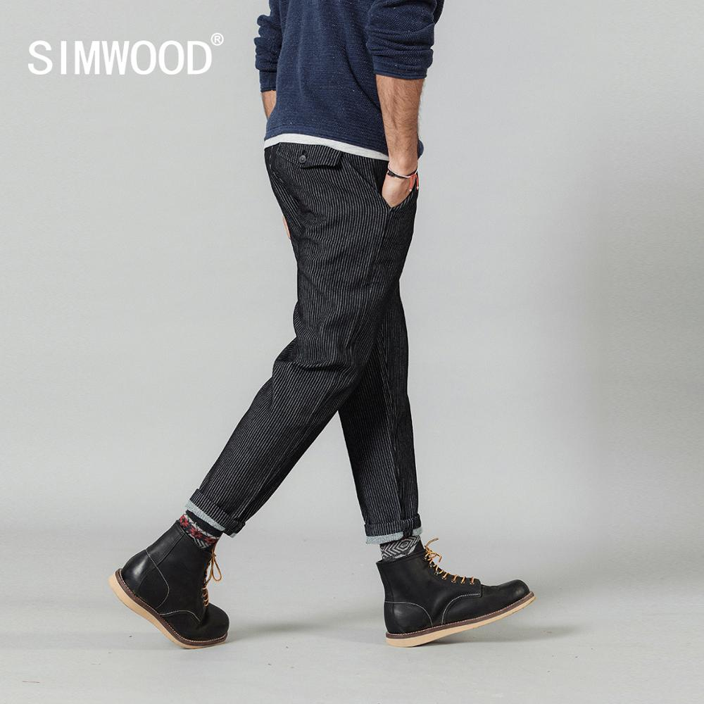 SIMWOOD Dobby Vertical Striped Ankle-length Pants Men Autumn Winter New Little Harem 100% Cotton Loose Trousers  SI980694