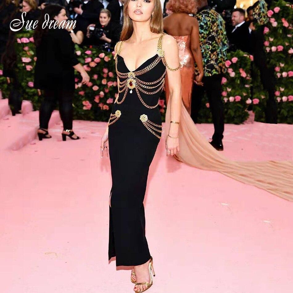 2021 Summer New Women'S Black Chain Spaghetti Strap V-Neck Split Bandage Dress Bodycon Celebrity Club Party Long Dress Vestidos